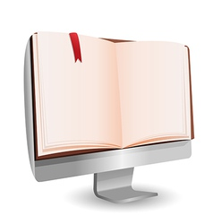 Computer Book reading technology education vector image