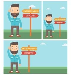 Confused man choosing career pathway vector image