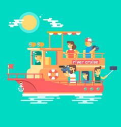 cruise ship sailing on river vector image
