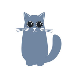 cute cat in flat style simple cartoon cat icon on vector image