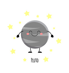 cute pluto planet kawaii characters vect vector image