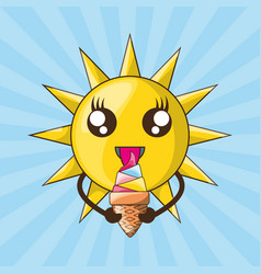 cute sun eating ice cream vector image