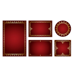 dark red backgrounds with gold ornamental frames vector image