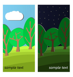 Day and night on a clearing in the forest vector