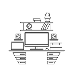 Desk with monitor printer and laptop Workplace vector image