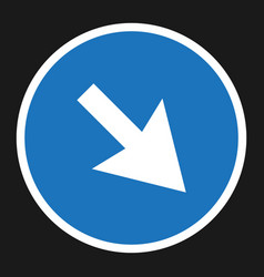 Detour to the right sign flat icon vector
