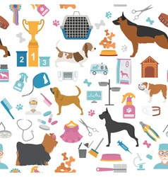 Dog seamless pattern Heatlh care vet nutrition vector image