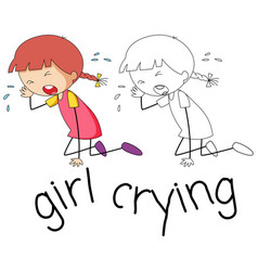 Doodle girl crying character vector