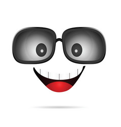 face cartoon comic with sunglasses vector image