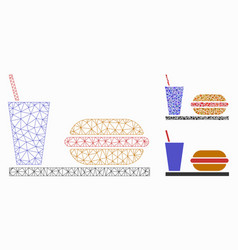 Fastfood mesh wire frame model and triangle vector