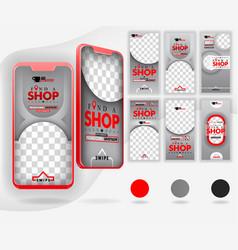 Five red mockup smartphones for online promotion vector