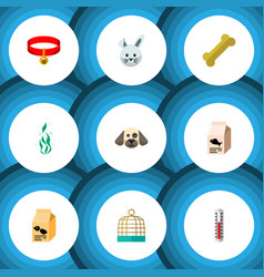 Flat icon animal set of bunny temperature vector