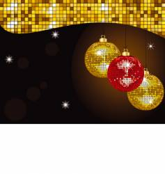 gold Christmas mirror baubles vector image