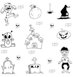 Halloween zombie castle graveyard in doodle vector