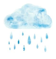 Hand draw aquarelle art paint blue watercolor vector