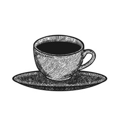hand drawn coffee cup on saucer logo design vector image