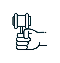 hand with hammer law peace and human rights line vector image