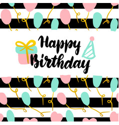 happy birthday postcard design vector image