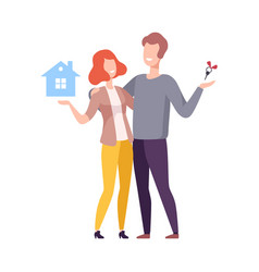 happy family couple bought new house people vector image