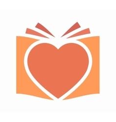 Heart and book logo vector