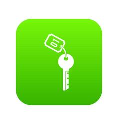hotel key icon digital green vector image