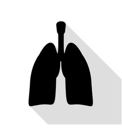 human organs lungs sign black icon with flat vector image