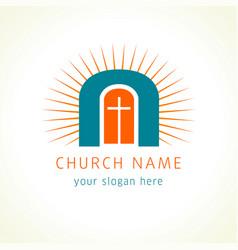 jesus is door church logo vector image