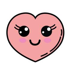 Kawaii cute happy heart love vector