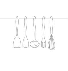 kitchen utensils continuous line graphic vector image