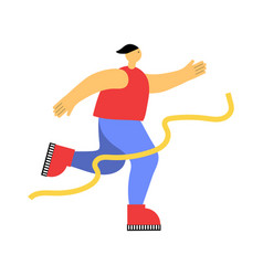 Male sports running flat on white vector