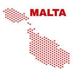 malta map - mosaic of love hearts vector image
