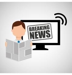 Man reading news breaking vector