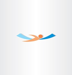 man swimming in sea logo vector image