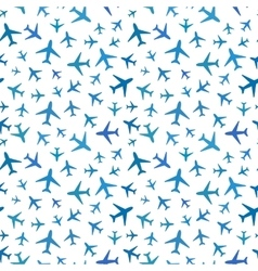 Many blue planes icons on white seamless pattern vector image
