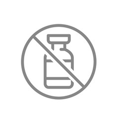 Medical ampoule and prohibition sign line icon vector