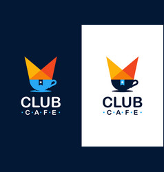 modern professional logo coffee club in orange and vector image