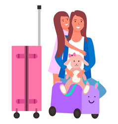 mother and daughter travel with luggage vector image