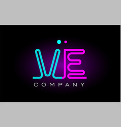 neon lights alphabet ve v e letter logo icon vector image vector image