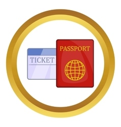 Passport and ticket icon vector