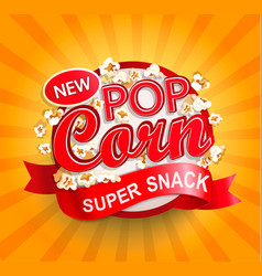 popcorn label on sunburst background vector image
