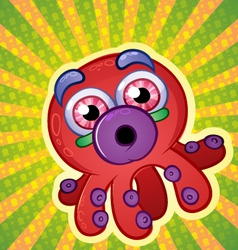 Rainbow Octopus Cartoon Character vector image
