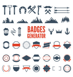 retro emblem generator is set icons badges vector image