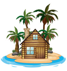 Scene with wooden hut on beach on white vector