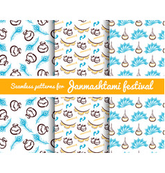 seamless patterns janmashtami festival vector image