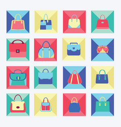 set icon of collection of women fashion bags vector image