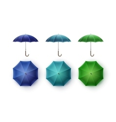 Set of Blue Turquoise Green Rain Umbrella Sunshade vector