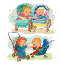 Set of little kids in a baby vector