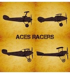 Set of retro airplane WW1 vector image