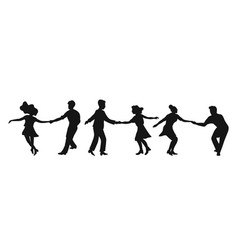 Set silhouettes couple dancing swing rock or vector