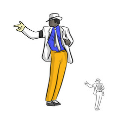 Singer in white suit and a glove dancing vector